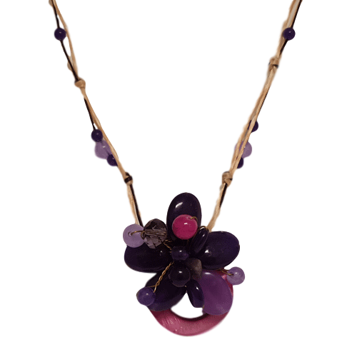 Purple Flower Bead Necklace