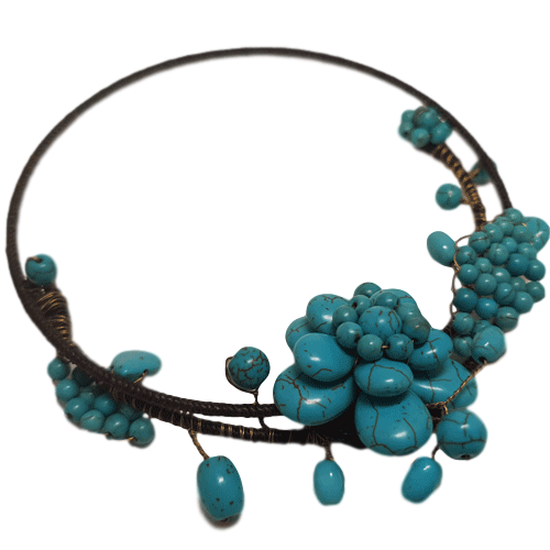 Turquoise Flower Beaded Choker