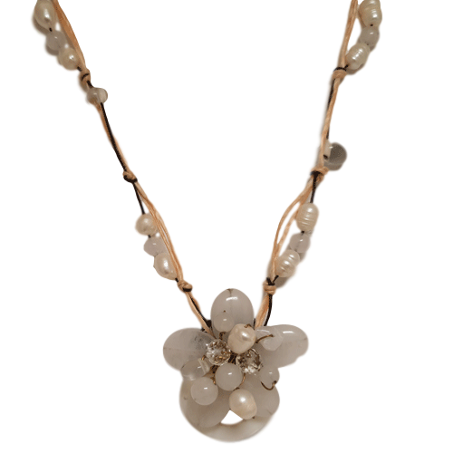 White Flower Bead Necklace